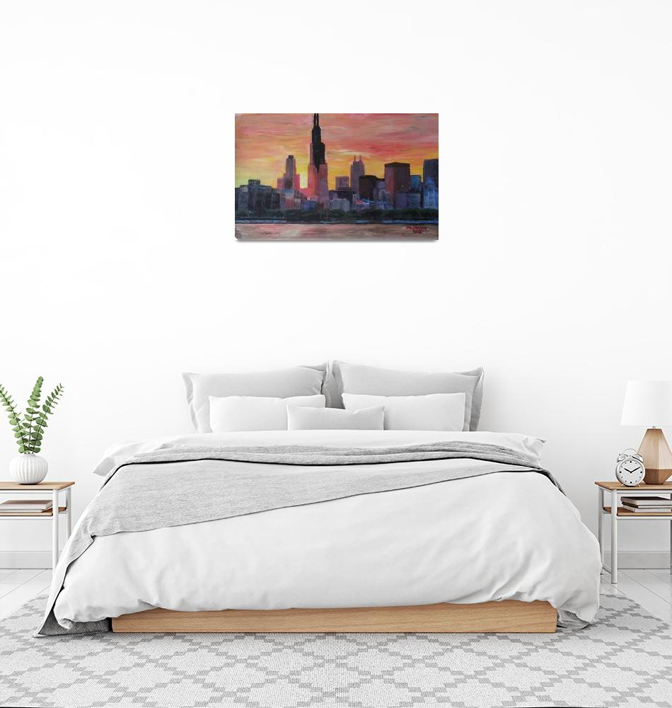 """""""Chicago Skyline at Sunset""""  (2013) by arthop77"""