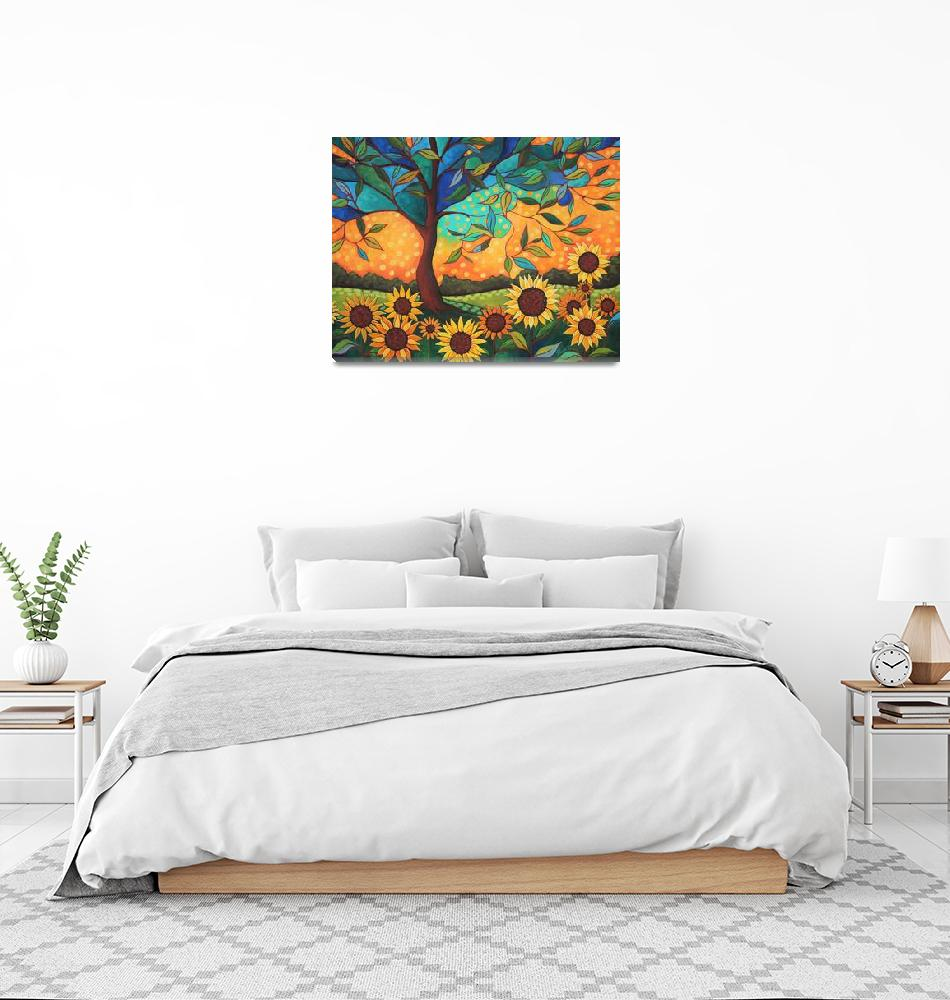 """""""Sunflowers At Sunset"""" (2016) by PeggySueDavis"""