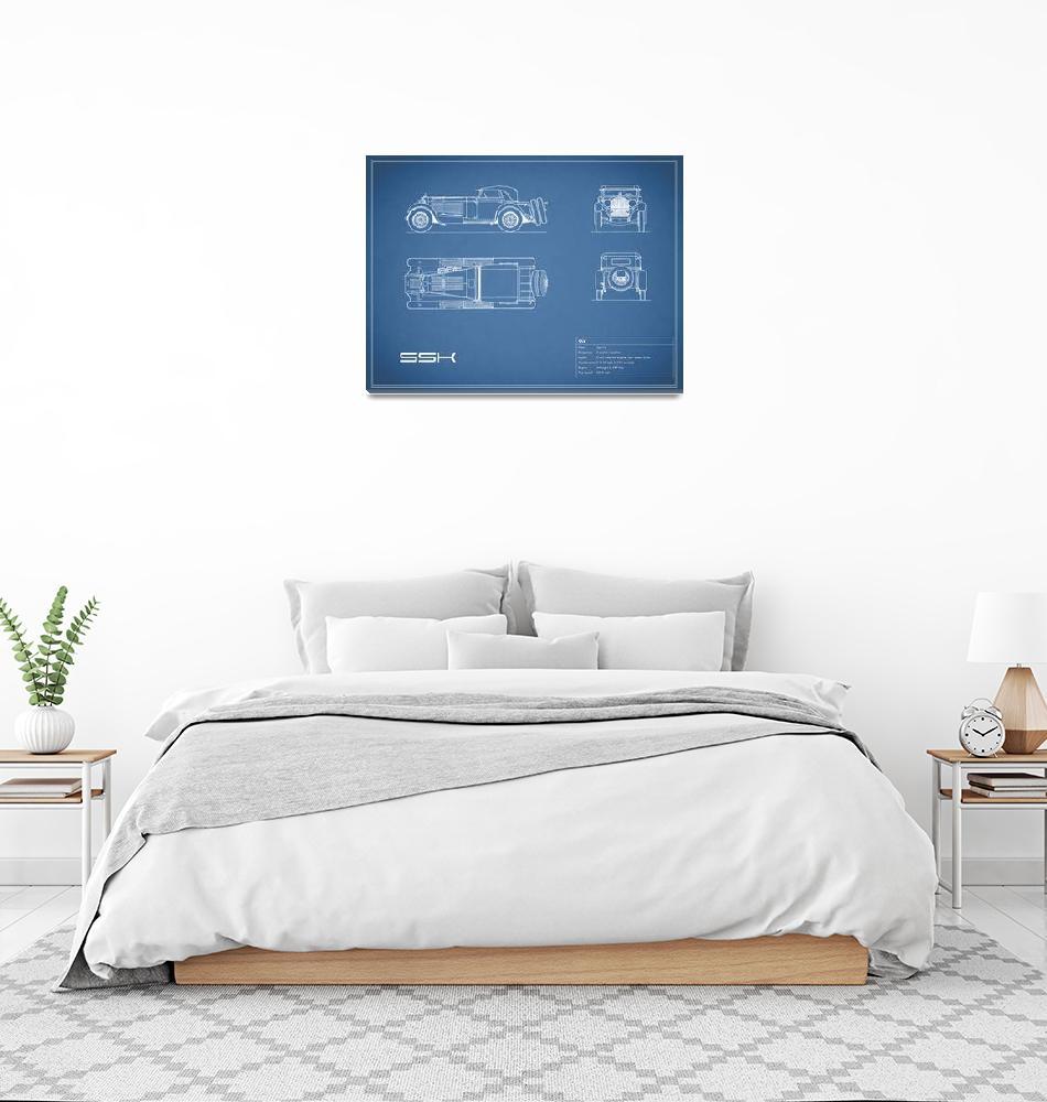 """Mercedes SSK Blueprint""  (2015) by mark-rogan"