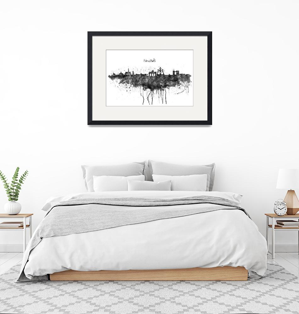 """""""Brussels Skyline Silhouette Watercolor painting BW""""  (2019) by MarianVoicu"""