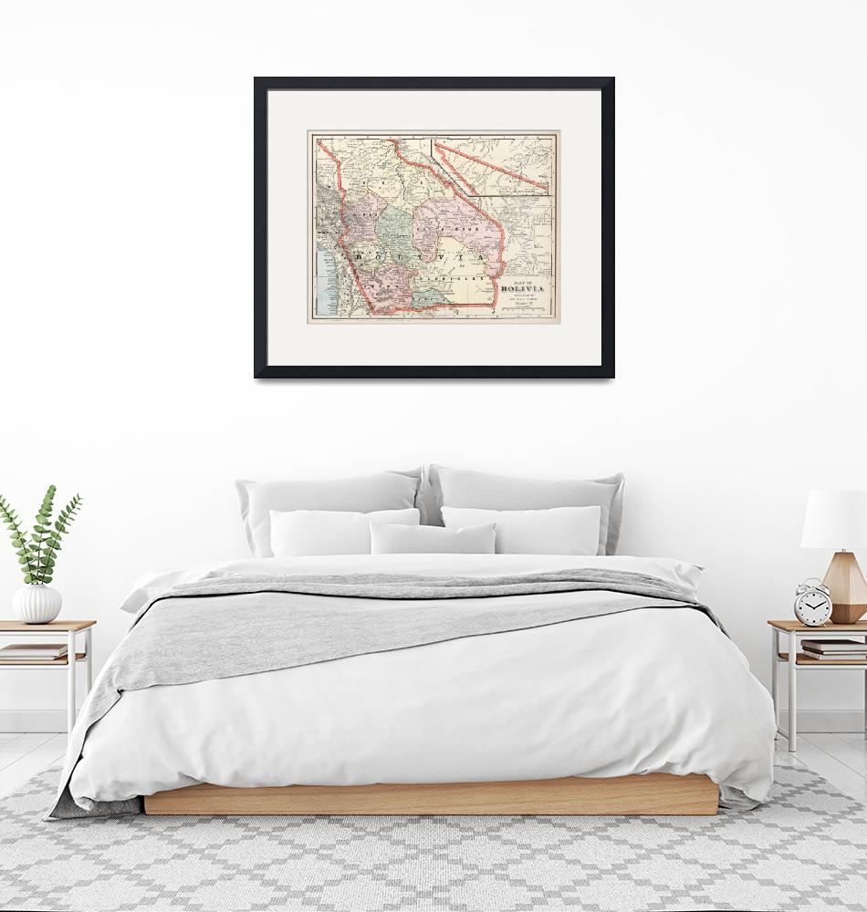 """""""Vintage Map of Bolivia (1901)""""  by Alleycatshirts"""