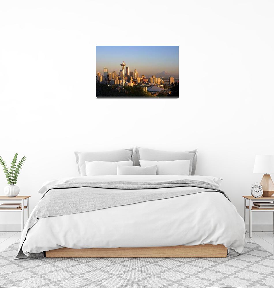"""Seattle Skyline on 9-11""  (2001) by timknight"