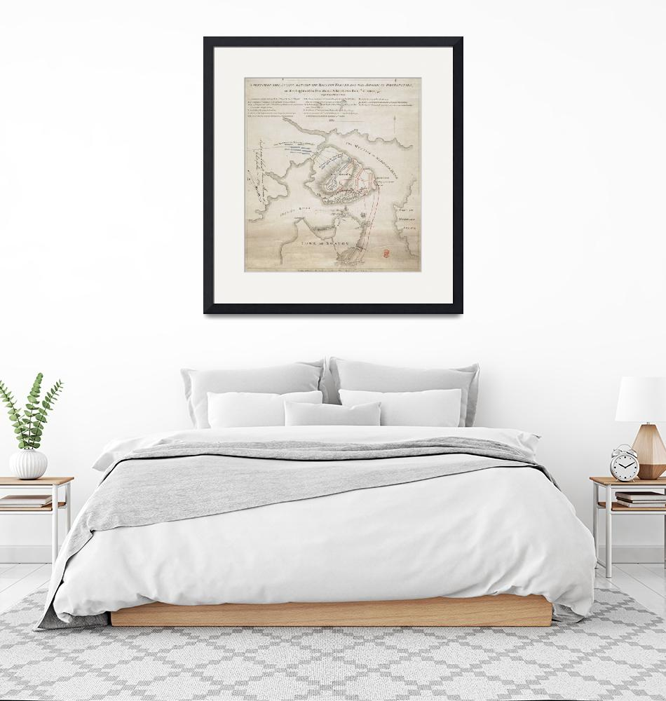 """""""Vintage Battle of Bunker Hill Map (1775)""""  by Alleycatshirts"""