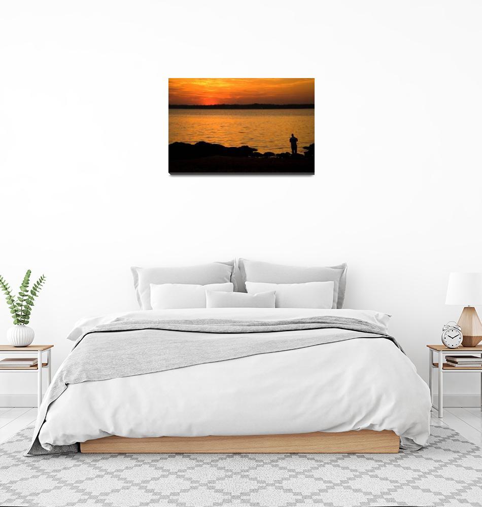 """""""Fishing at Sunset""""  (2010) by karolsstuff"""
