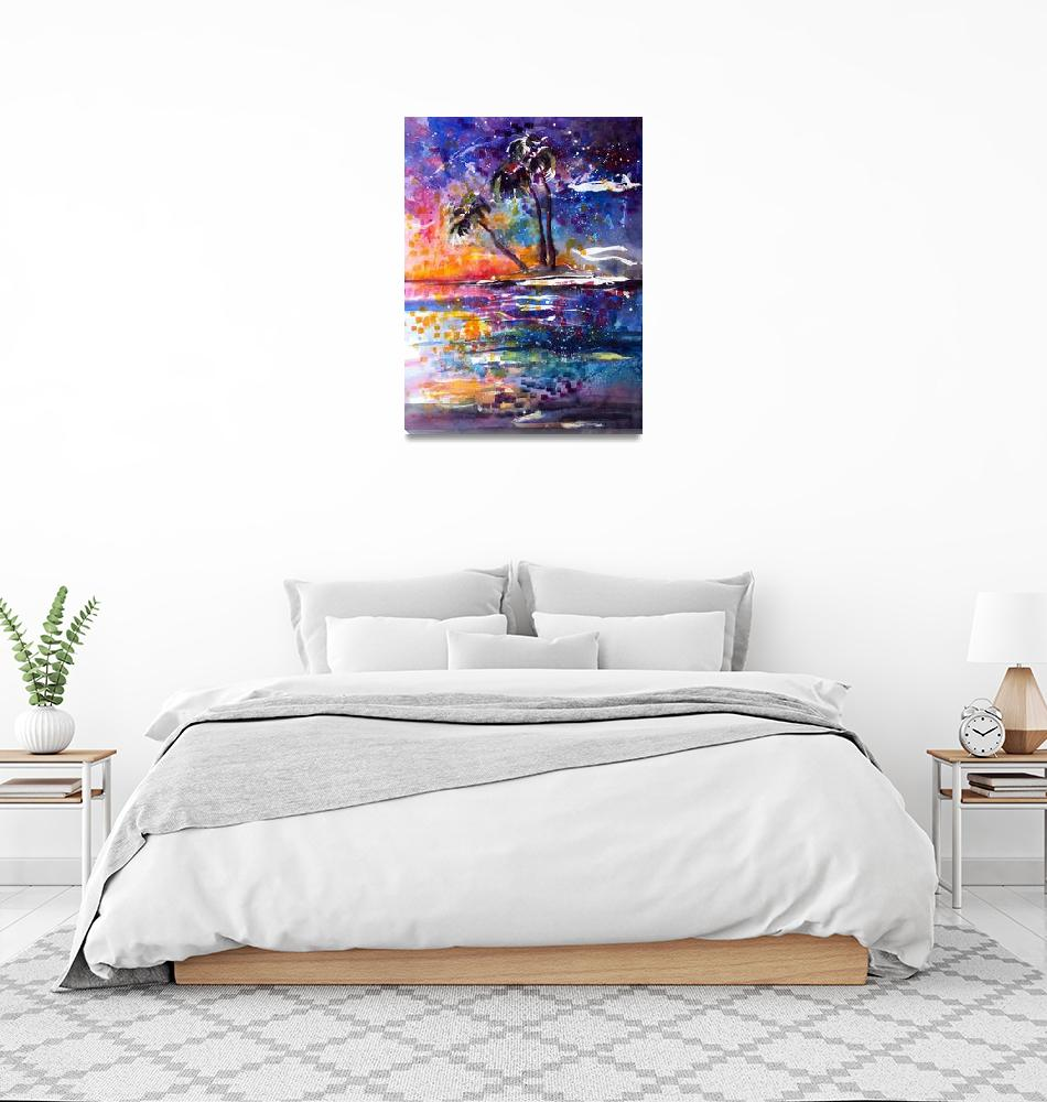 """""""Impressionist Watercolor Starry Night Island""""  (2011) by GinetteCallaway"""