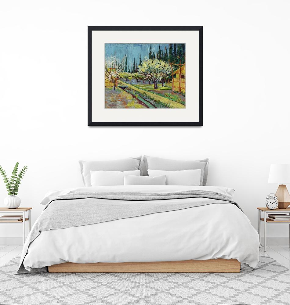 """""""Orchard Bordered by Cypresses by Vincent Van Gogh""""  by FineArtClassics"""