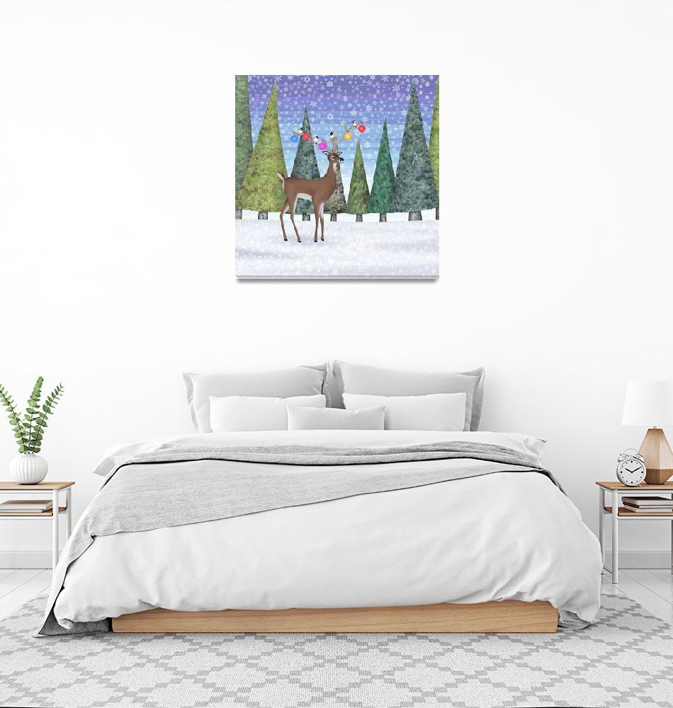 """Christmas deer and chickadees""  (2019) by sarahkdesigns"