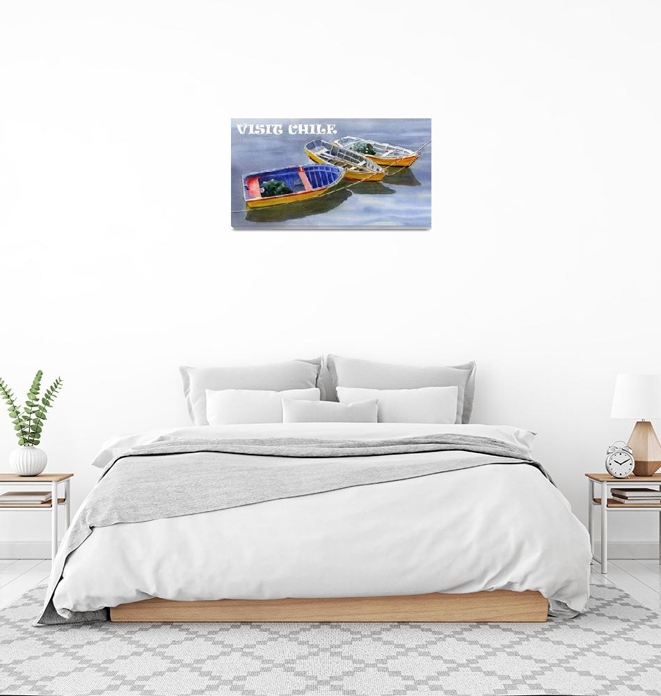 """""""blue dory POSTER, VISIT CHILE""""  (2018) by Pacific-NW-Watercolors"""