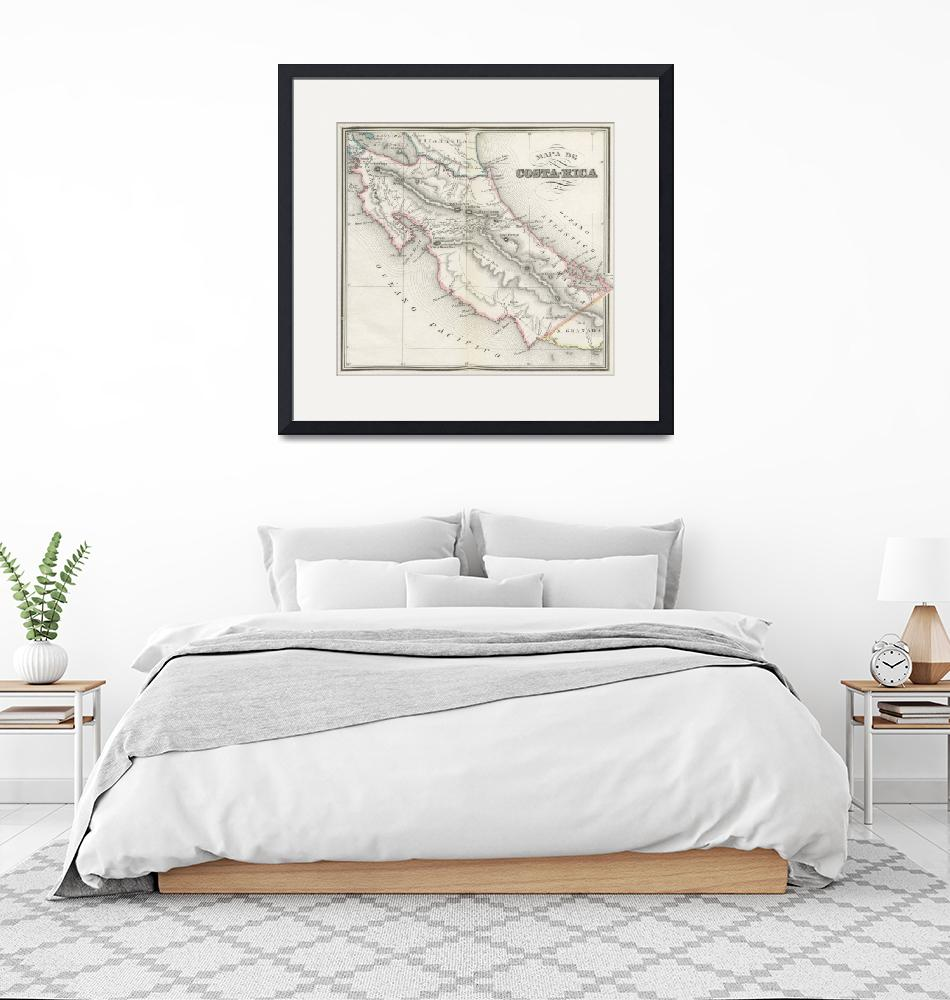 """Vintage Map of Costa Rica (1851)""  by Alleycatshirts"