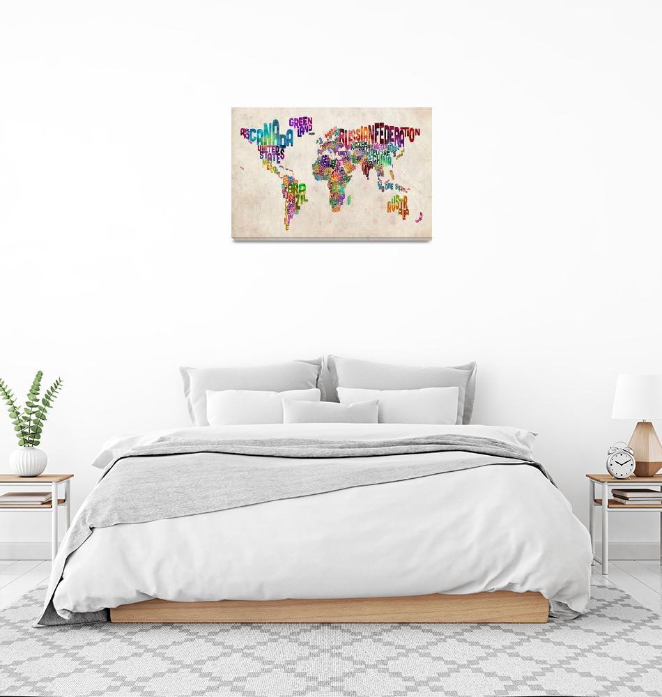 """Text Map of the World Urban Watercolor""  (2012) by ModernArtPrints"