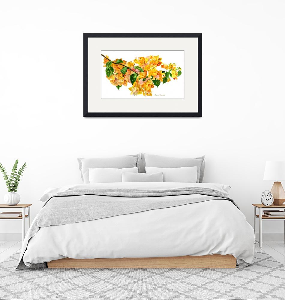 """""""Golden Bougainvillea with White Background""""  (2015) by Pacific-NW-Watercolors"""