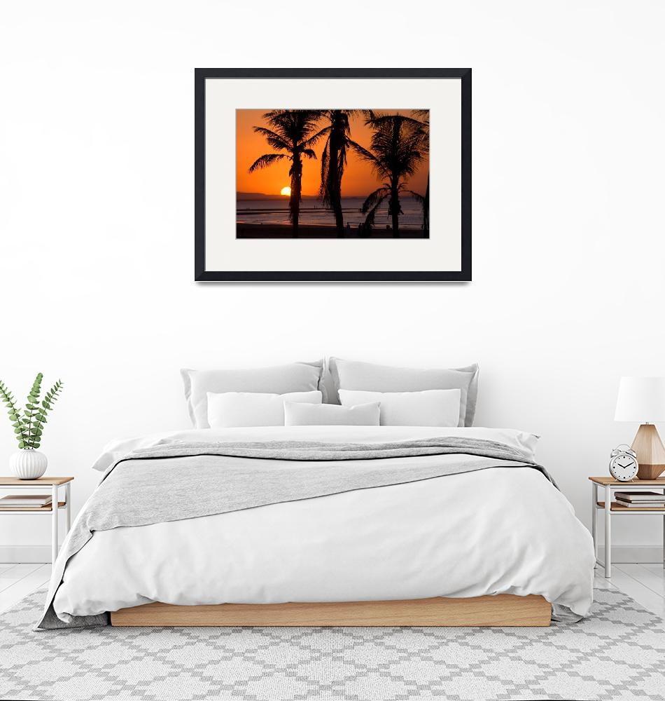 """Silhouetted Palm Trees at Sunset""  (2007) by dennisflood"