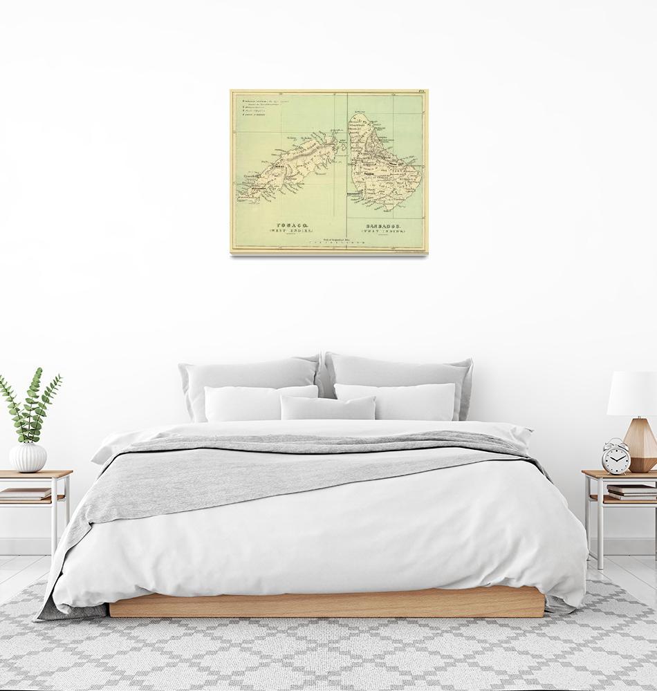 """""""Vintage Map of Barbados and Tobago (1853)""""  by Alleycatshirts"""