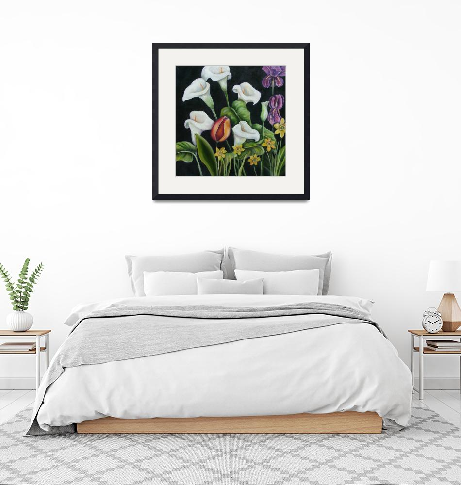 """""""A single tulip surrounded by Calla Lilies""""  (2008) by artistamy"""