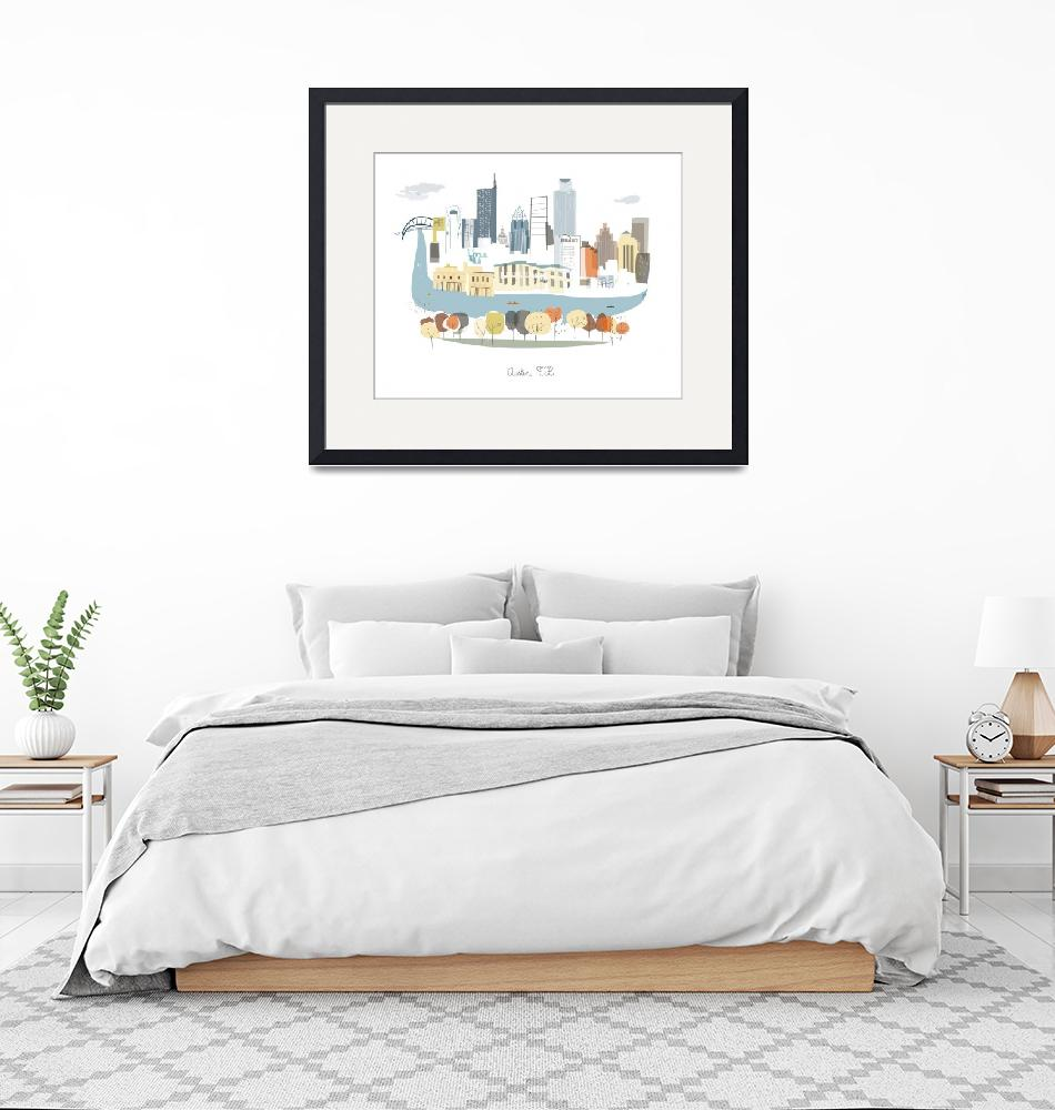 """Austin Modern Cityscape Illustration""  by AlbieDesigns"