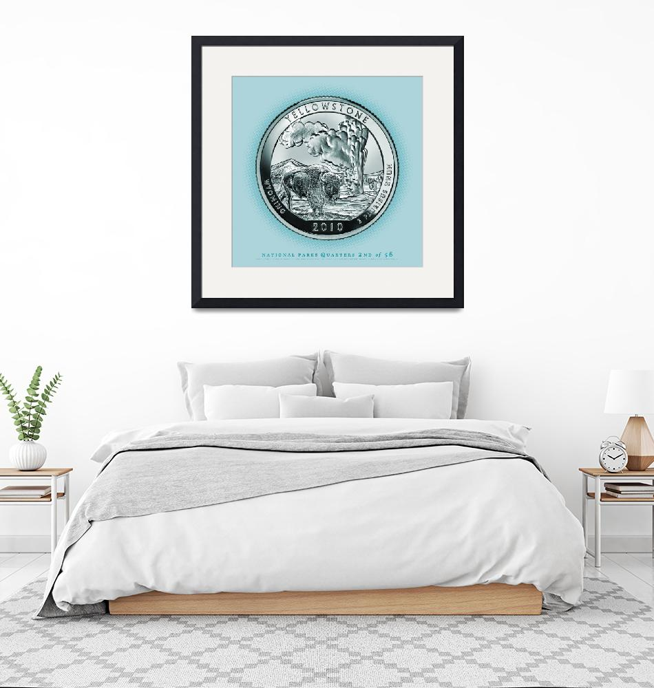 """""""Yellowstone, Wyoming - Portrait Coin 58""""  (2017) by statequarters"""
