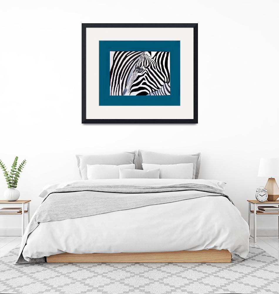 """""""Zebra abstract on blue""""  (2011) by Spangles44"""