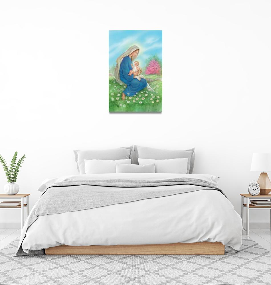 """""""Mary holding baby Jesus""""  by artlicensing"""