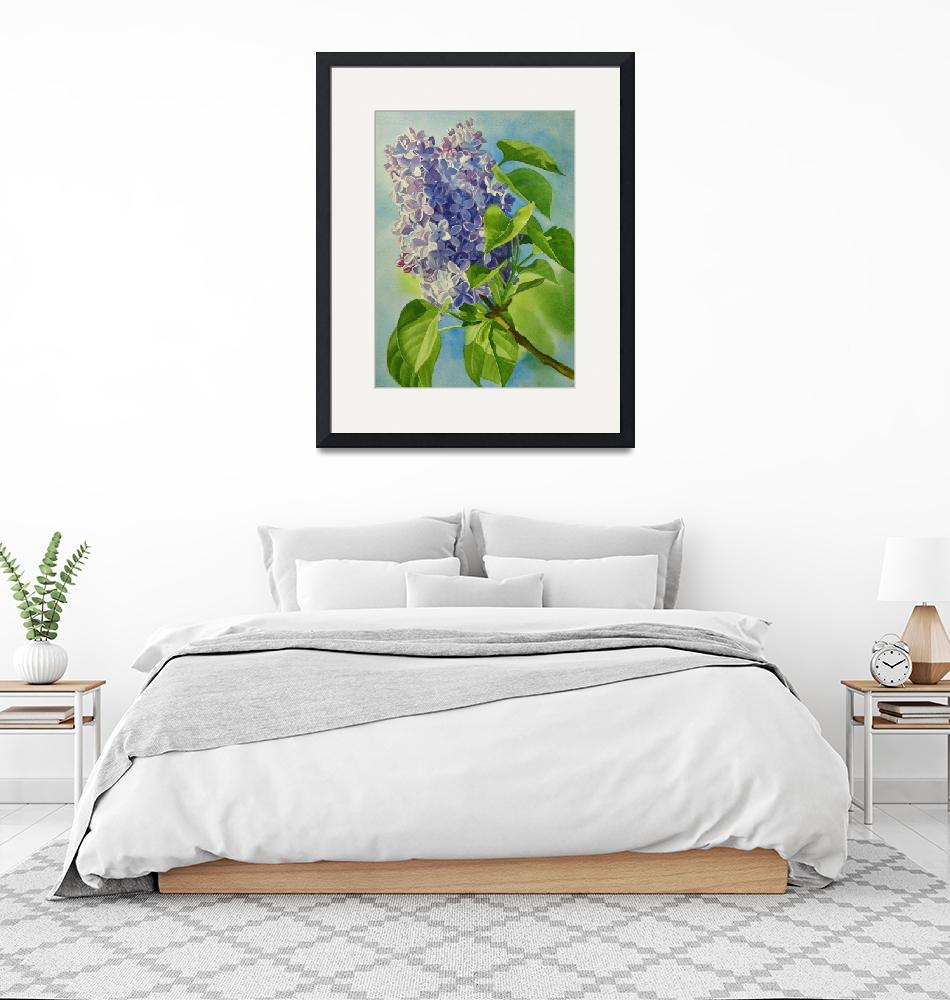 """""""Blue and Lavender Lilacs""""  (2010) by Pacific-NW-Watercolors"""