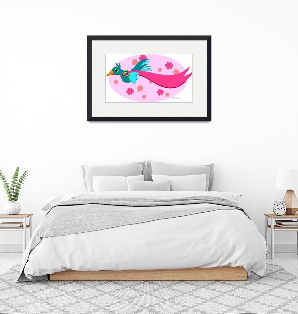 """""""Graceful Bird with a Pink Banner"""" (2011) by theblueplanet"""