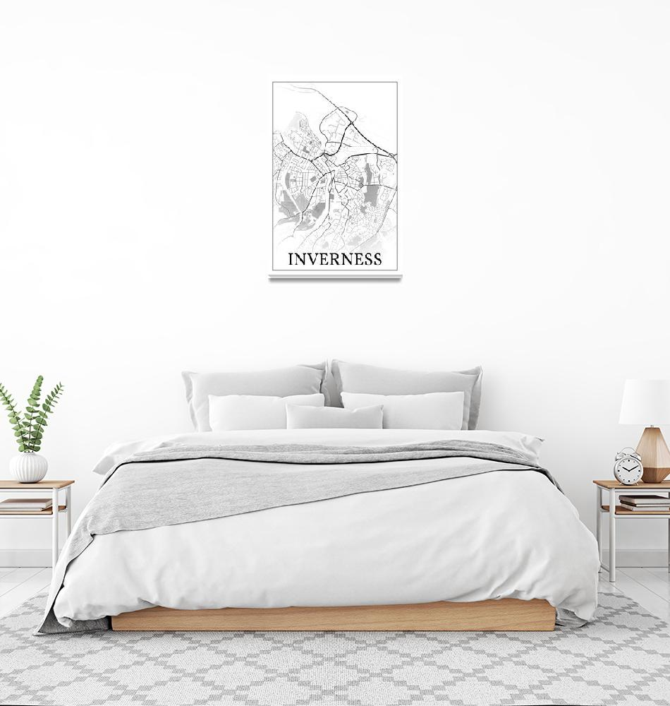 """Inverness, Scotland, city map print.""  by dandistudio"