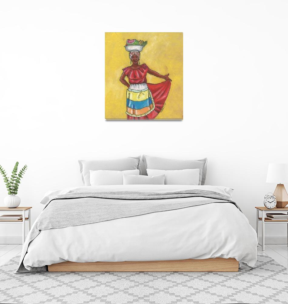"""""""Colombian Vendors - Red Dress""""  (2015) by LynnArmedeDeBeal"""