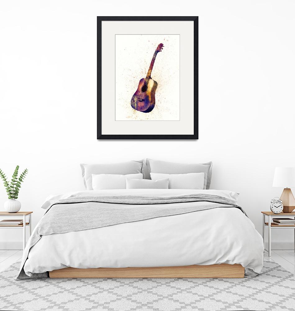 """Acoustic Guitar Abstract Watercolor"" (2015) by ModernArtPrints"