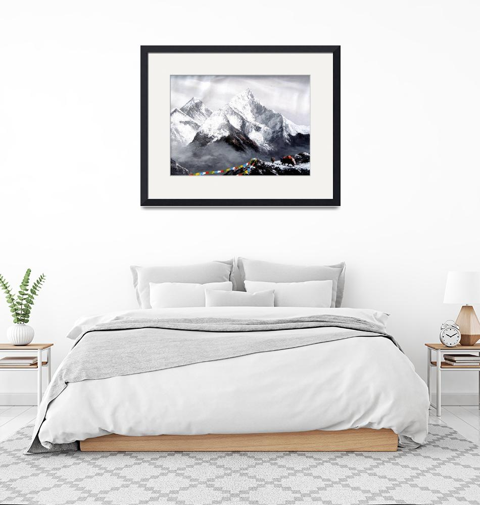 """""""Panoramic View Of Everest Mountain""""  (2014) by whimsyart"""