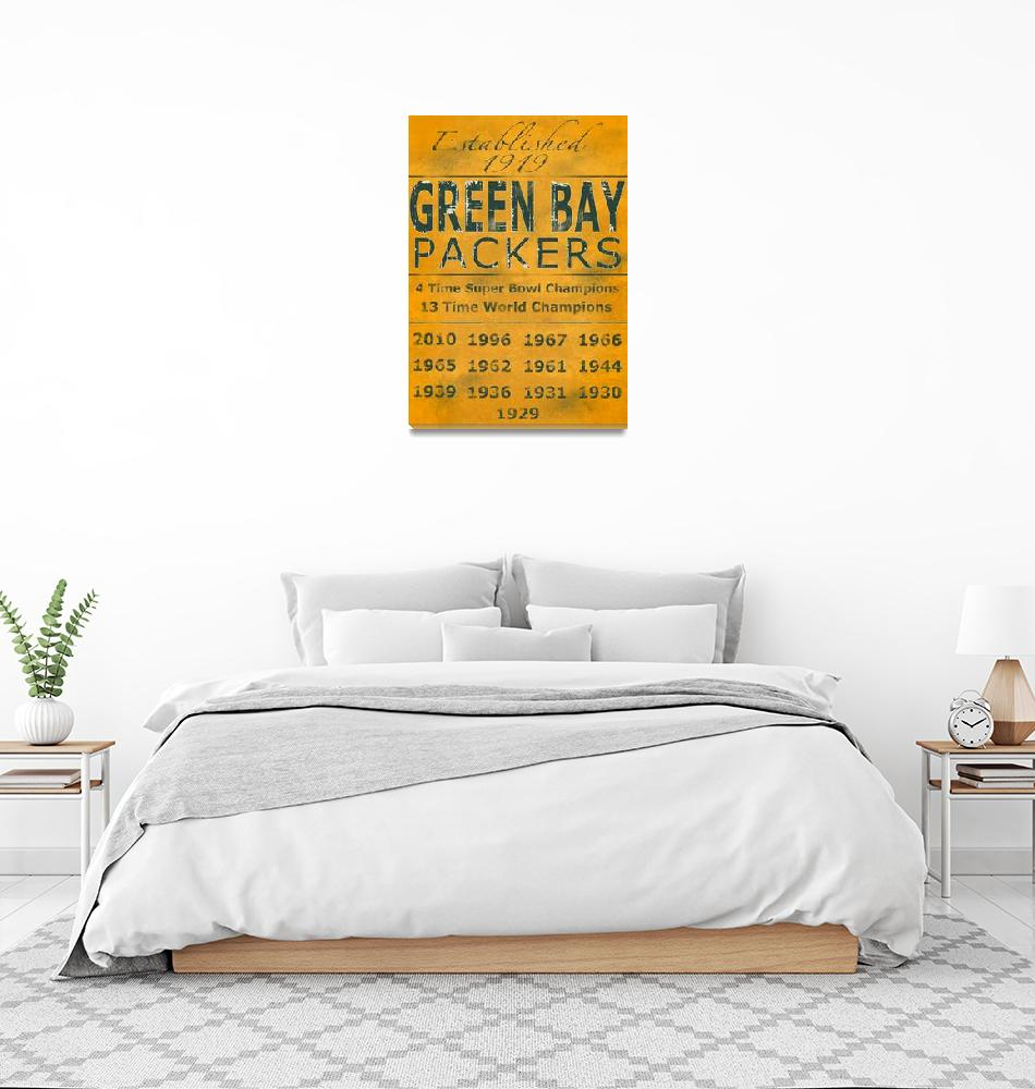 """""""Green Bay Packers Yellow Banner""""  (2011) by Lemonjello"""