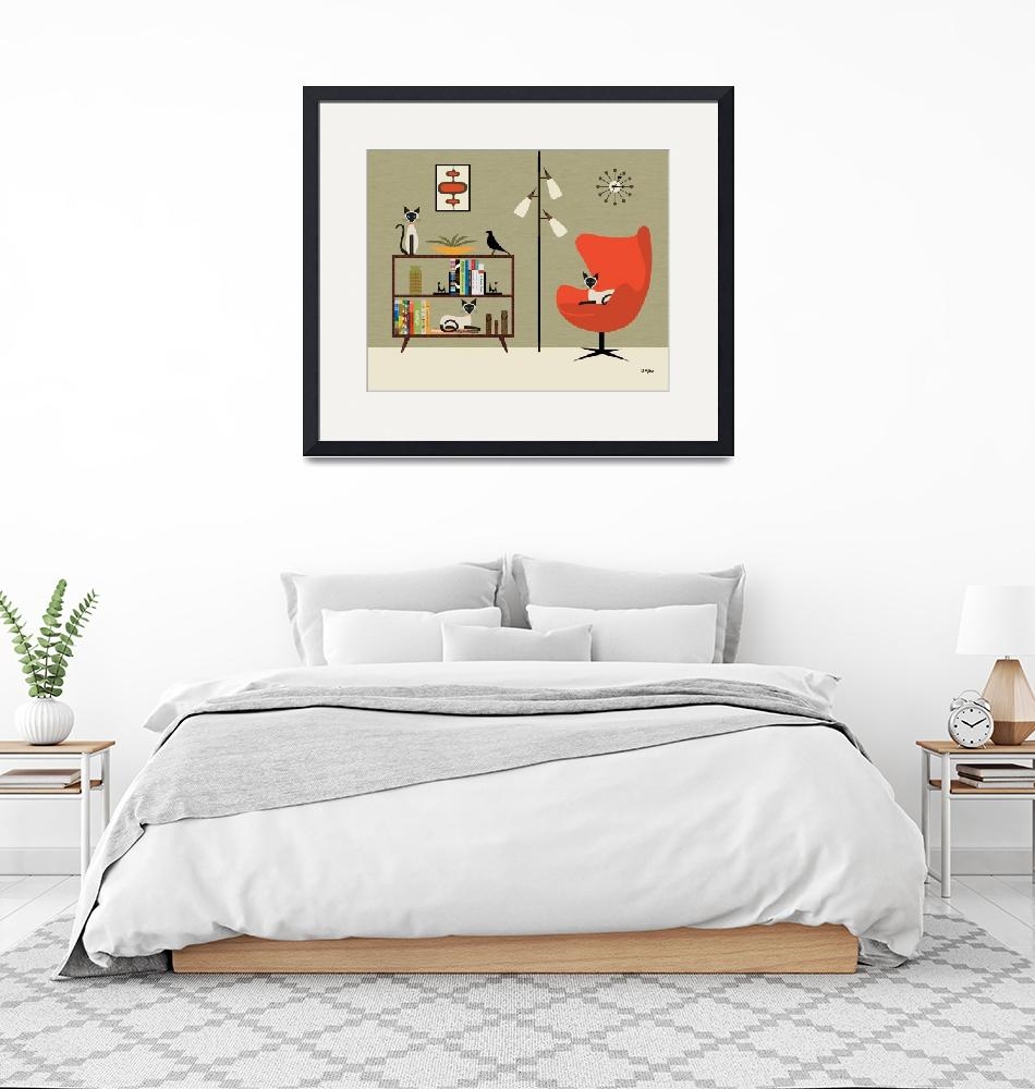 """""""Mid Century Room with Bookcase and Siamese Cats""""  by DMibus"""