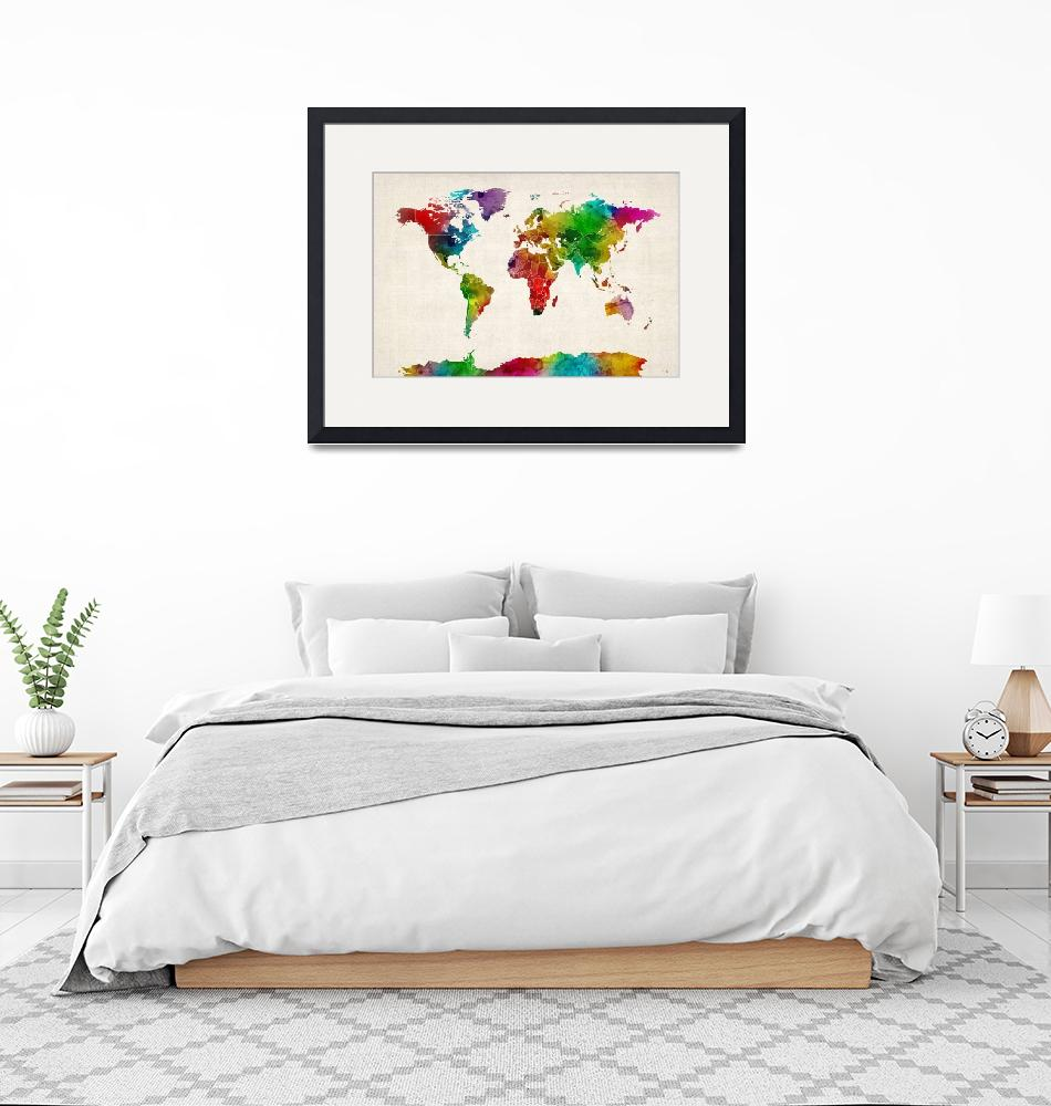 """""""Watercolor Map of the World Map"""" (2012) by ModernArtPrints"""