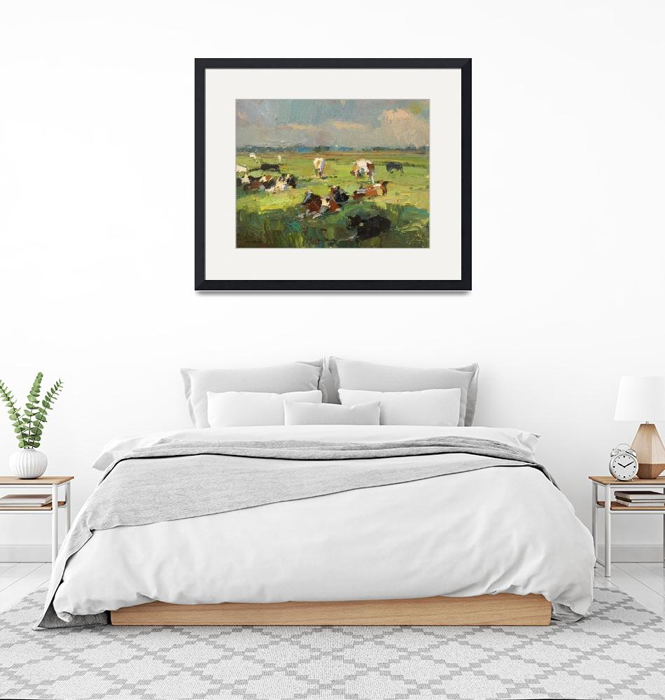 """Sunny Day - Cows Resting - Painting Roos Schuring""  by rschuring"