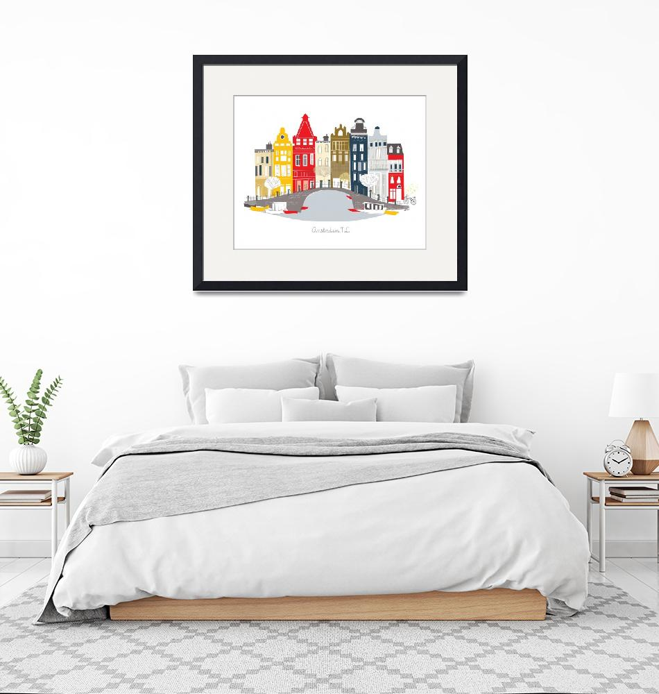 """""""Amsterdam Modern Cityscape Illustration""""  by AlbieDesigns"""