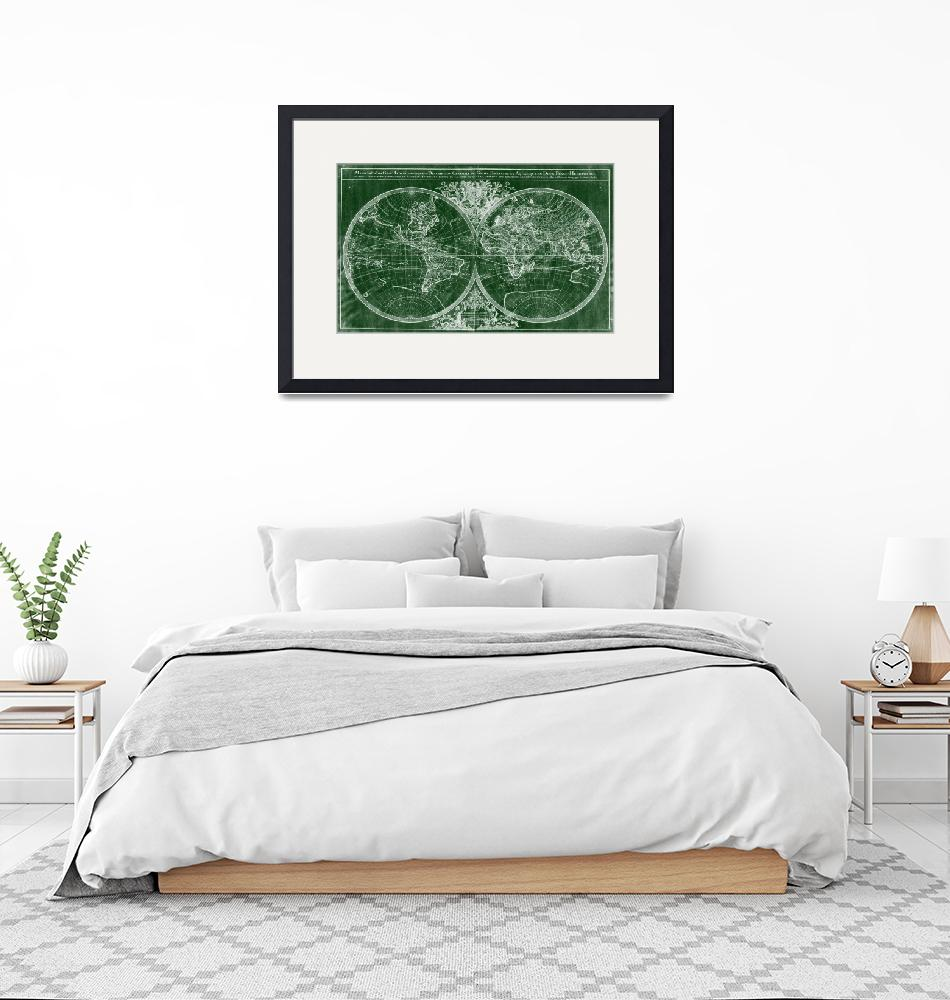 """World Map (1691) Green & White""  by Alleycatshirts"