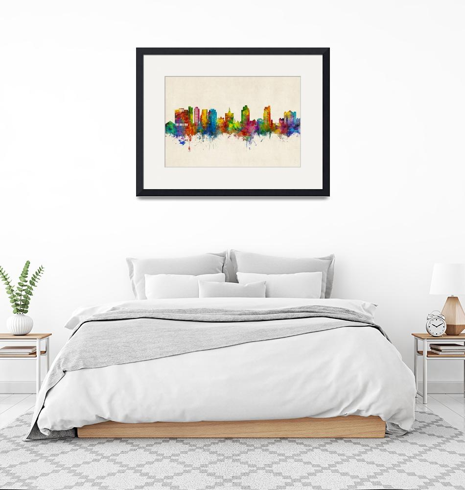 """San Jose California Skyline""  (2019) by ModernArtPrints"