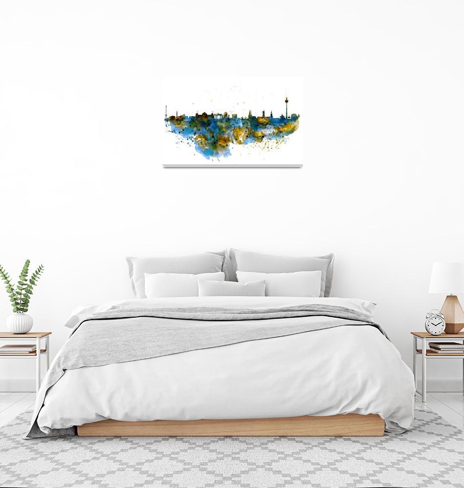 """Berlin Watercolor Skyline""  (2015) by MarianVoicu"