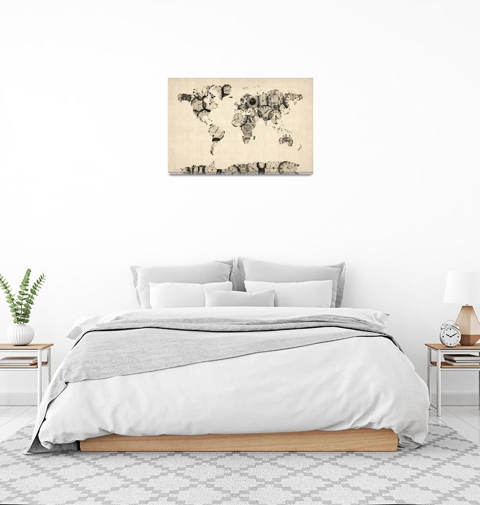 """Map of the World Map from Old Clocks""  (2012) by ModernArtPrints"