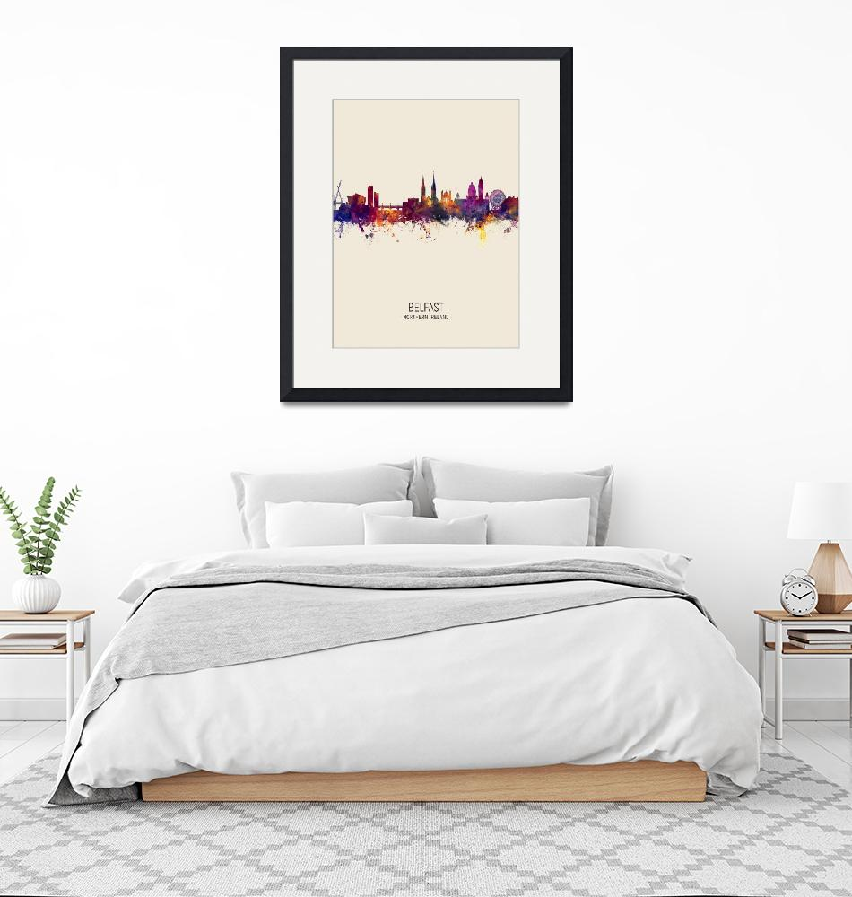 """Belfast Northern Ireland Skyline""  (2018) by ModernArtPrints"