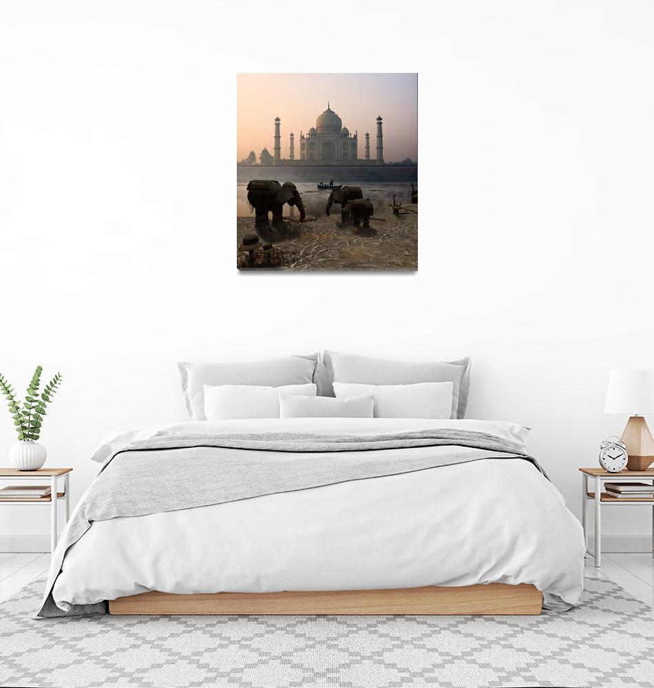 """""""Iron Elephants Overlooking Taj mahal""""  (2013) by Artaiza"""