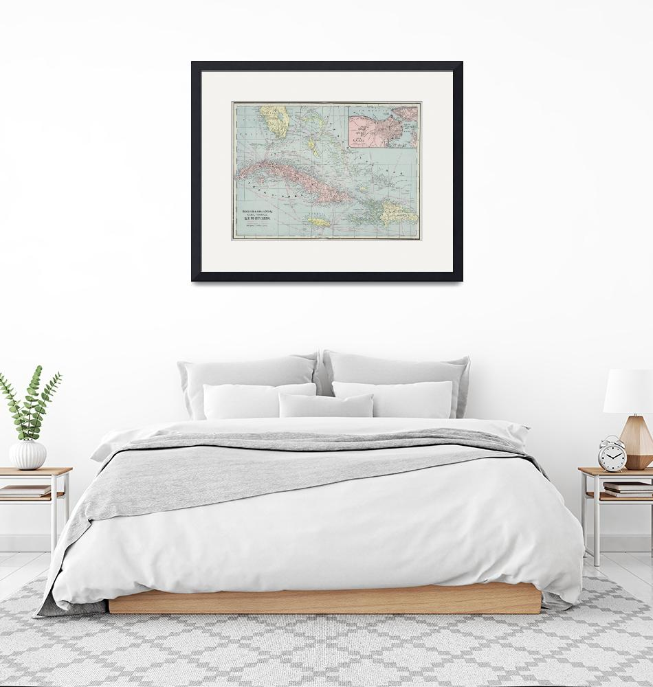 """Vintage Map of The Caribbean (1901)""  by Alleycatshirts"
