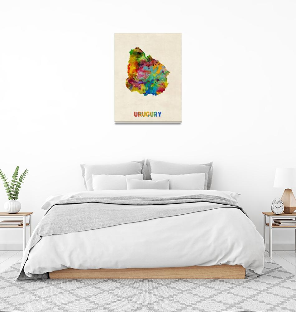 """Uruguay Watercolor Map""  (2014) by ModernArtPrints"
