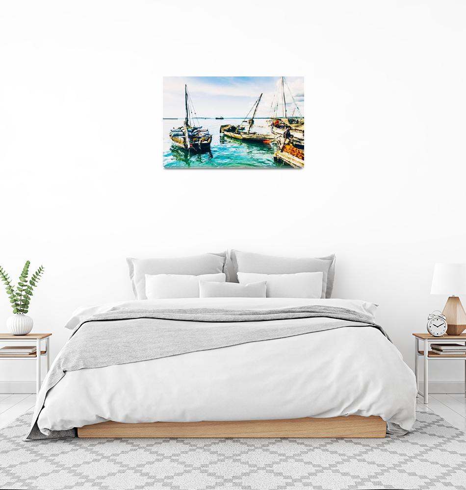 """""""Dhow Sail Boats Zanzibar Tanzania 3735""""  by amynnasser"""