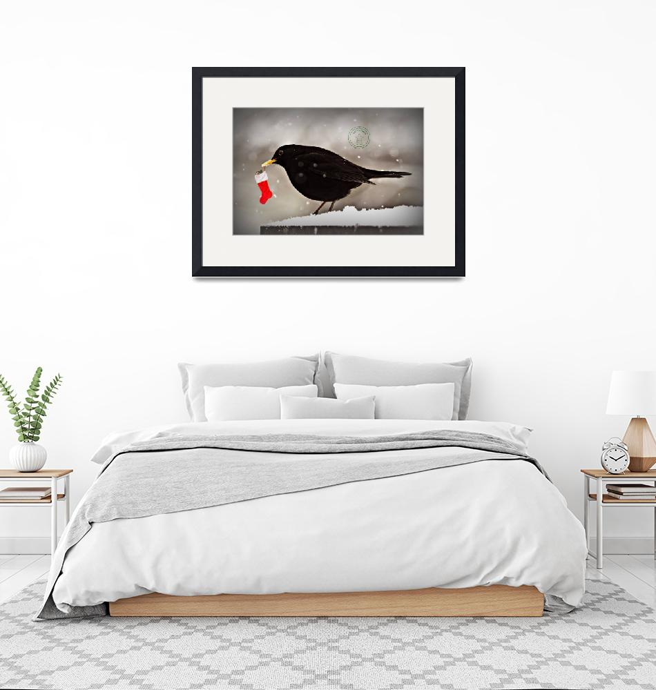 """""""Blackbird with christmas stocking""""  by Spangles44"""