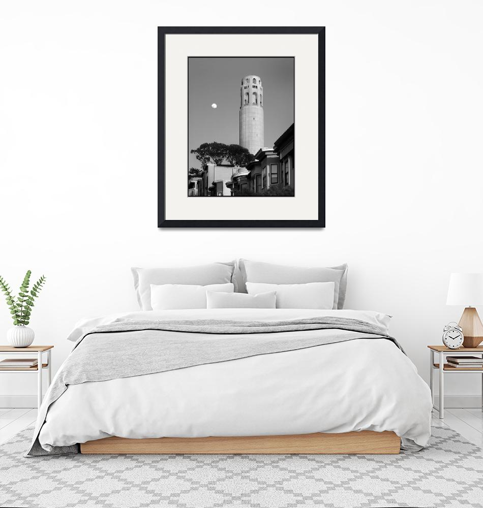 """""""sf_coit_tower_moon.P-bw""""  by worldwidearchive"""