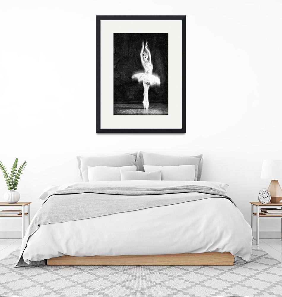 """""""Ballet Dancer Extended Black and White""""  (2014) by RubinoFineArt"""