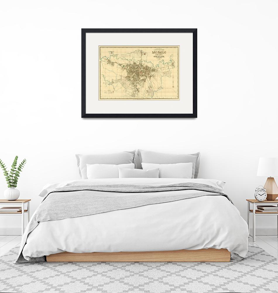 """""""Vintage Map of Sao Paulo Brazil (1916)""""  by Alleycatshirts"""
