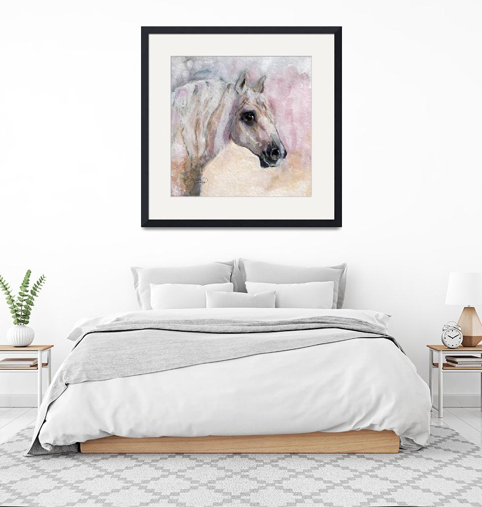 """""""Percheron Portrait Watercolor by Ginette""""  (2015) by GinetteCallaway"""