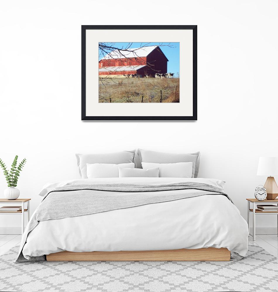 """""""Amish Bank Barn in the Winter""""  (2008) by suesteiner"""