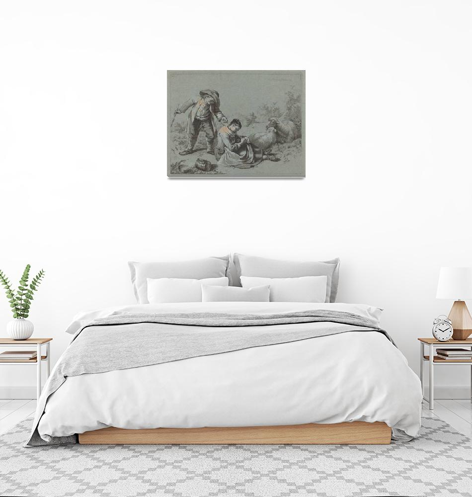 """Francesco Londonio~Peasant Teasing a Sleeping Girl""  by Old_master"