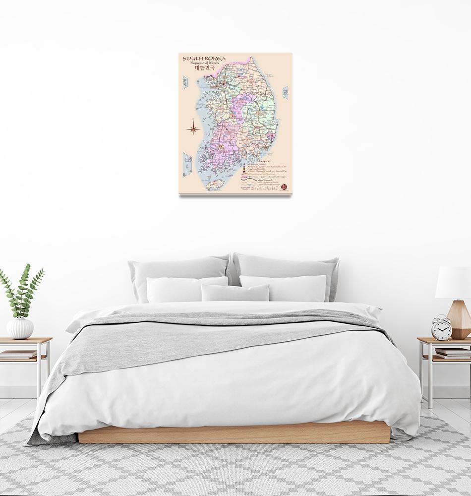 """South Korea Map - artist-rendered""  (2008) by redthreadmaps"
